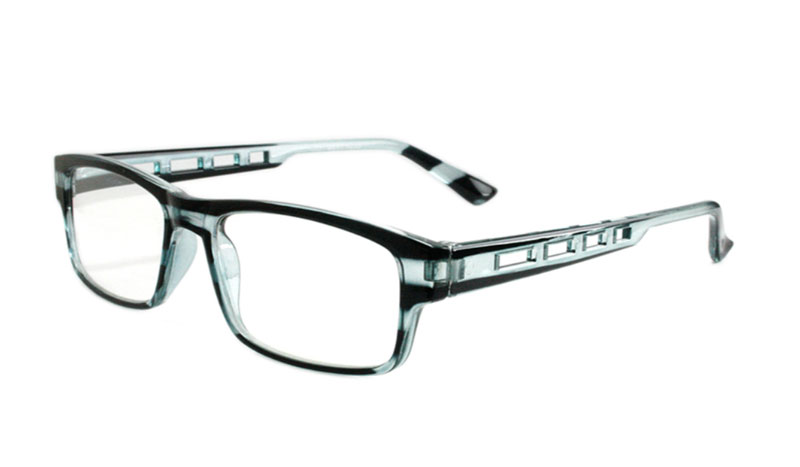 Sort / lysblå-transparent stribet brille med  - Design nr. b133