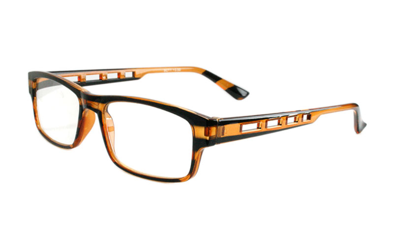 Sort / orange-transparant stribet brille med hul-design i stængerne - Design nr. b134