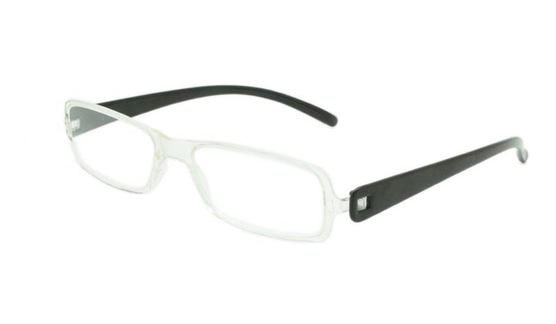 63c1c04fe5c8 Let smal brille i klar transparent farve med matte sorte stænger - Design nr.  b147