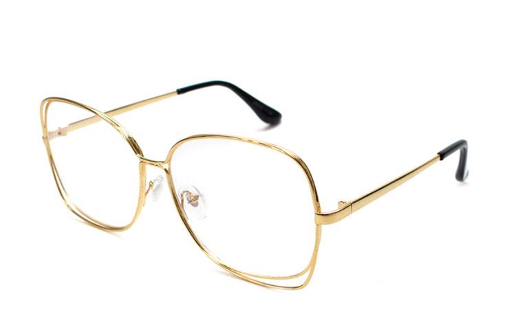 cd38885926d1 Stor oversize guldfarvet brille med dobbeltstel - Design nr. b169