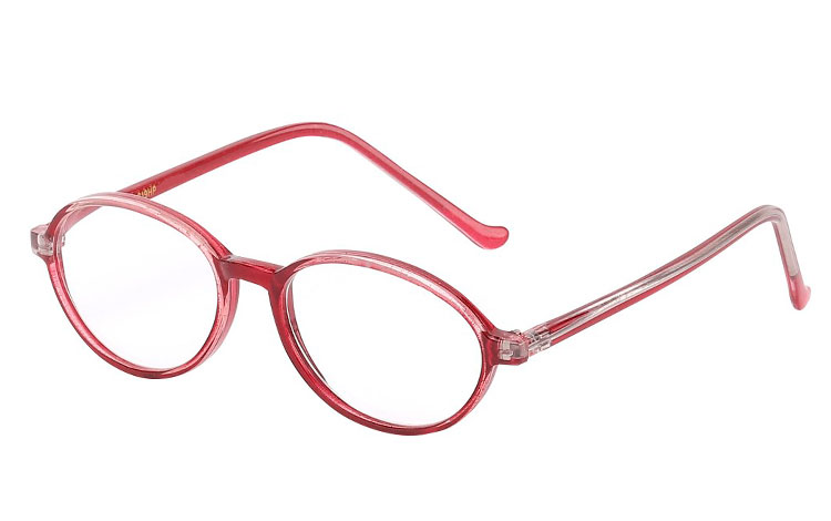 Oval brille i bordeaux farvet stel - Design nr. b194