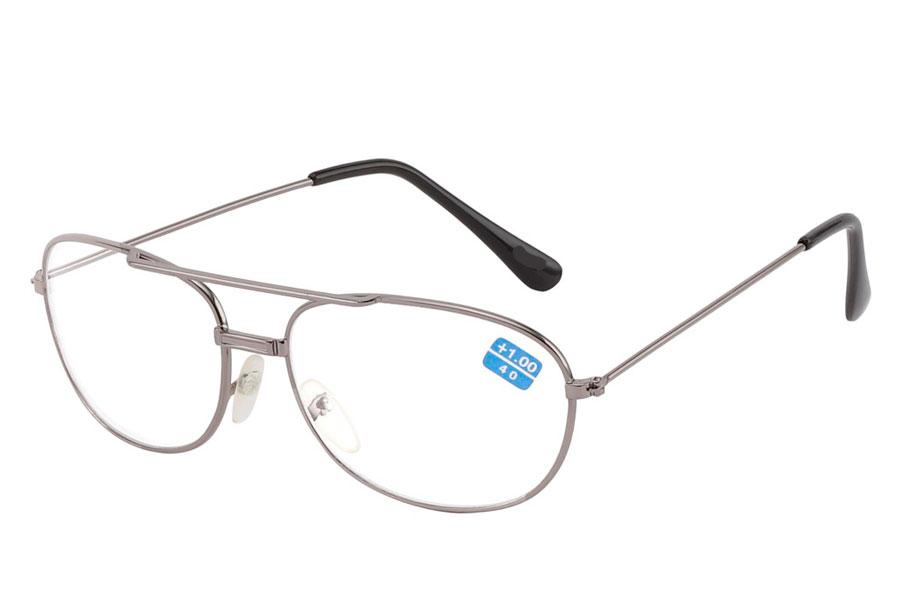 1629d711964d Sølvfarvet metal brille med læsefelt - Design nr. b229