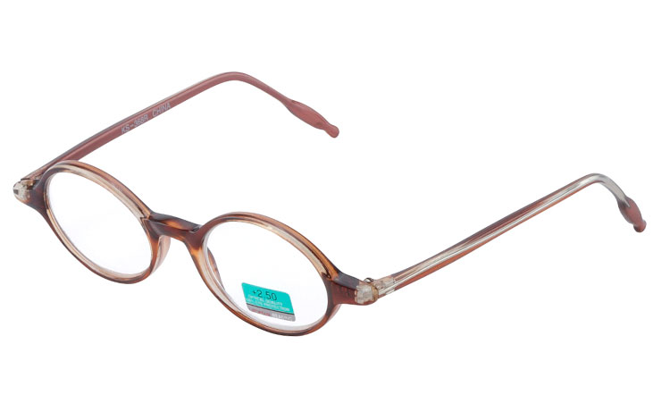 Oval modebrille i halvtransparent brun-orange stel - Design nr. b263