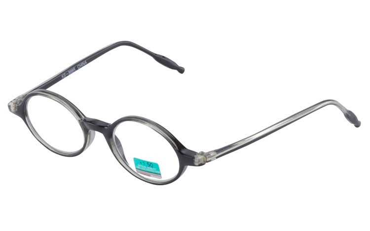 Oval modebrille i halvtransparent grå-sort stel - Design nr. b264