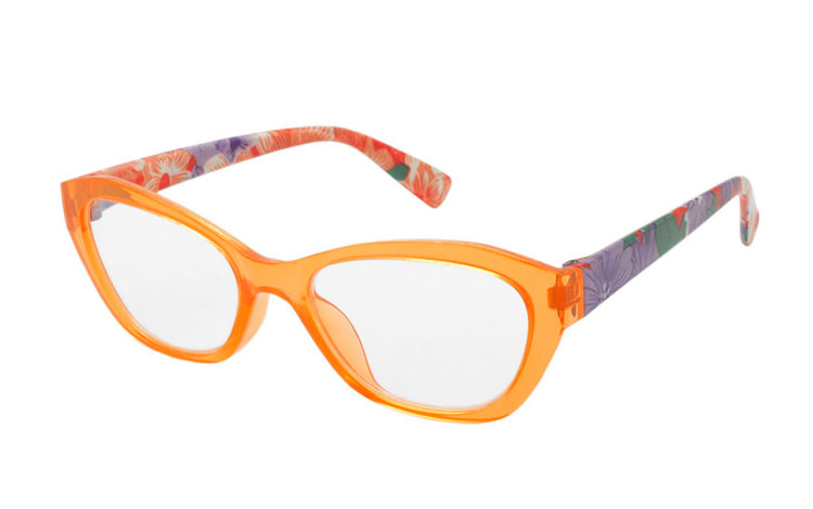 Skøn orange flower power brille - Design nr. b276