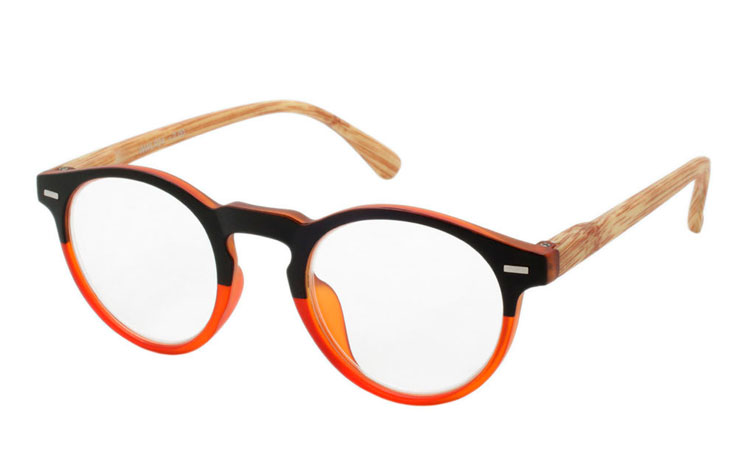 Flot rund orange/sort brille i eksklusivt design - Design nr. b302