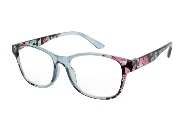 5f0892168396 Lys grå transparent brille med blomsterprint - Design nr. b325