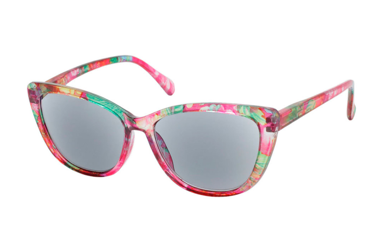 Smart cateye solbrille i blomstret retro - vintage look - Design nr. b352