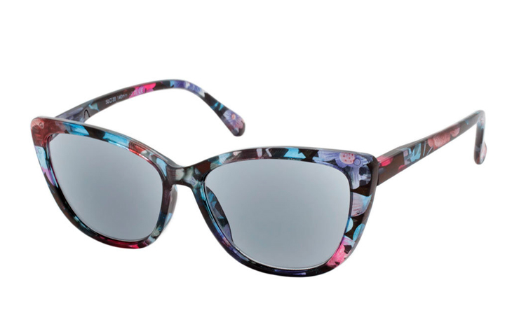 Smart cateye solbrille i blomstret retro - vintage look - Design nr. b353