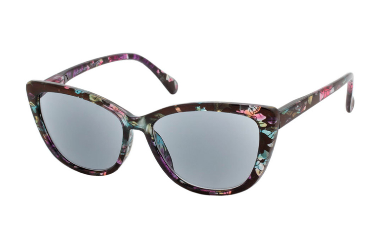 Smart cateye solbrille i blomstret retro - vintage look - Design nr. b354