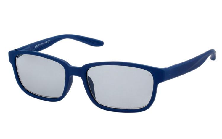 d40ec5ed37eb Mat blå solbrille i firkantet design med runde hjørner - Design nr. b356