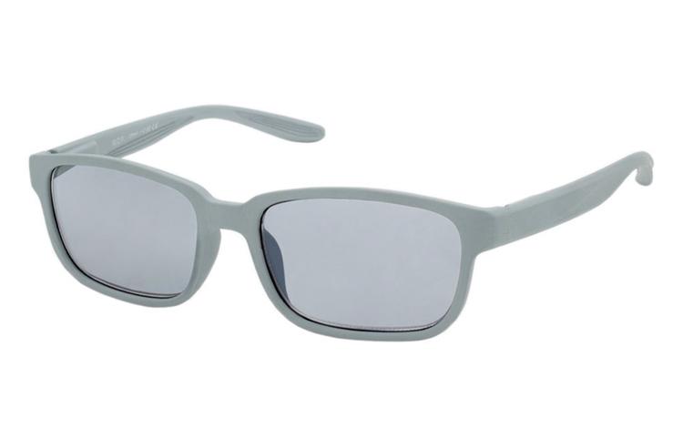 b40a9c93958a Mat lysgrå solbrille i firkantet design med runde hjørner - Design nr. b358