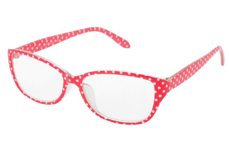 0513ca9fdbea Læsebrille i rød og hvid polkaprikket design. Etui i samme farve medfølger  - Design nr