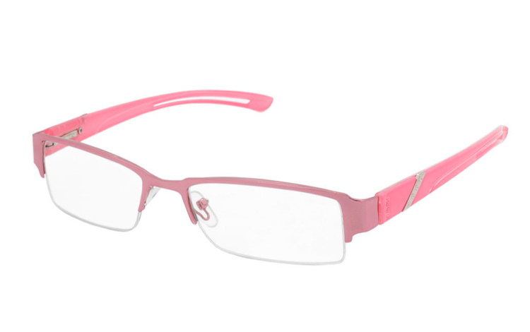Lyserød metal brille i smalt design - Design nr. b376
