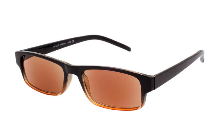 a7bd912843d9 Solbrille med styrke i retro sort   brune-orange farver - Design nr. b378