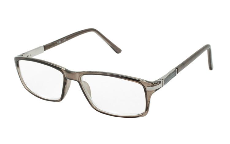 5e298c06dff6 Røgfarvet brille med sølvfarvet metal detalje i hjørne - Design nr. b383