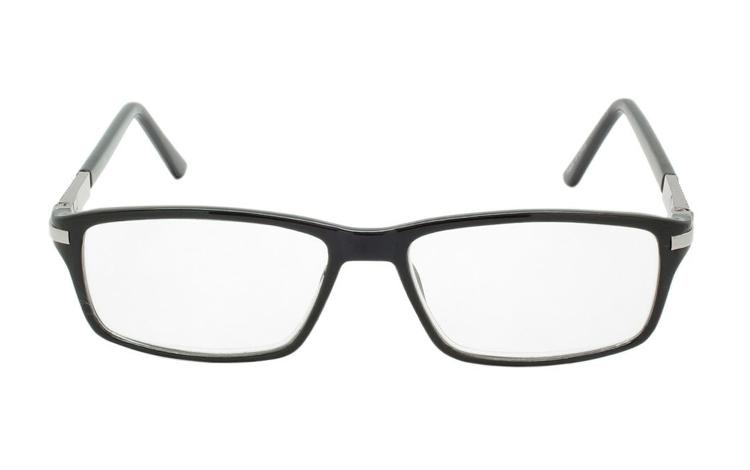 71fce960f0e0 ... Sort brille sølvfarvet metal detalje i hjørne - hverdagsbriller.dk -  billede 2 ...