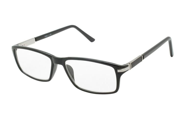 f974d787f692 Sort brille sølvfarvet metal detalje i hjørne ...