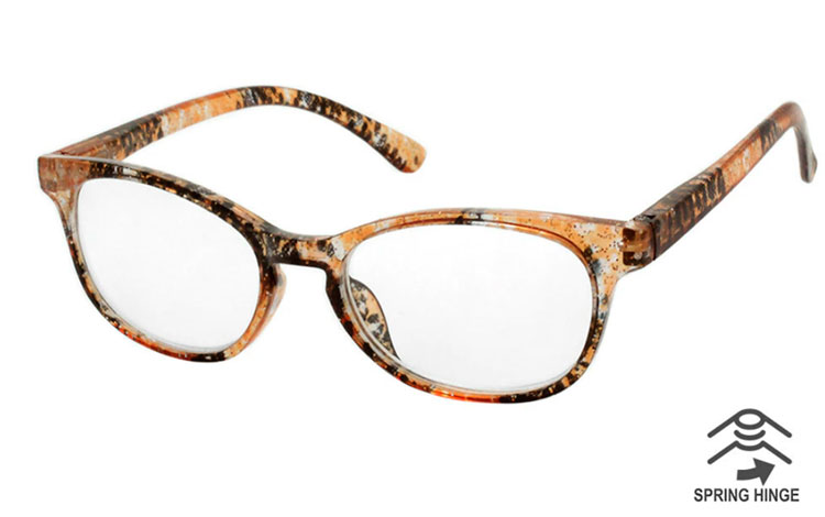 Smuk GLIMMER brille i orange/brun/sort farvemix - Design nr. b484