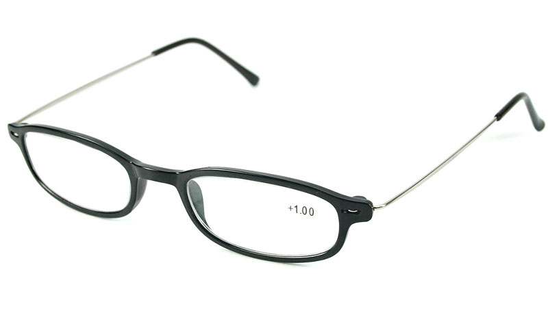 Let og elegant sort brille i ovalt design.