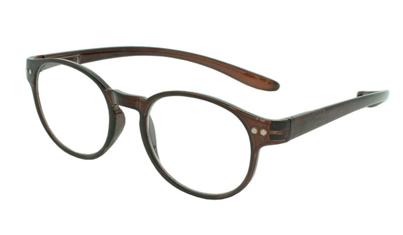 Smart brun rund brille i stilet design.